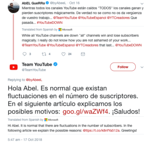 YouTube's Reply on changing Tseries Subscribers