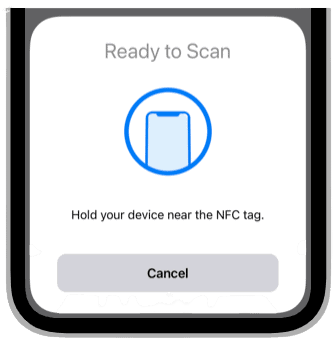 Hold your iPhone near the NFC tag to use it