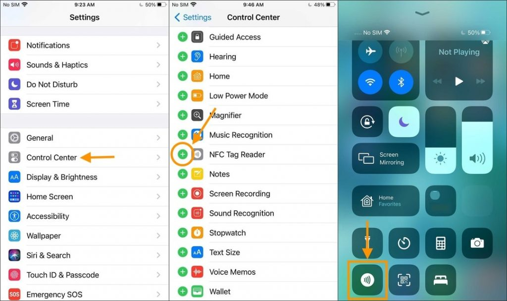 How to add NFC Tag Reader to iPhone 7, 8, and X Control Center in iOS 14 and later