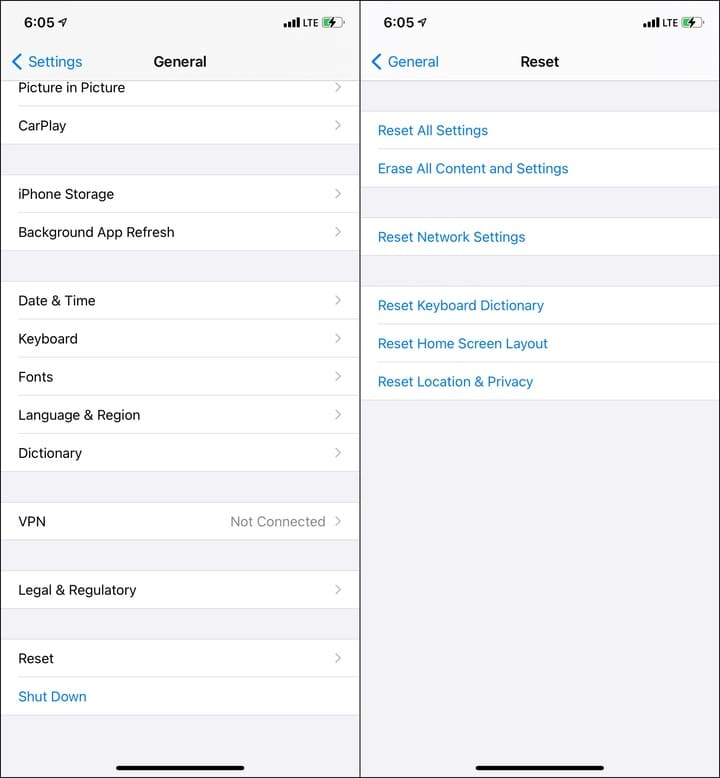 Reset all iPhone settings to fix Face ID problems