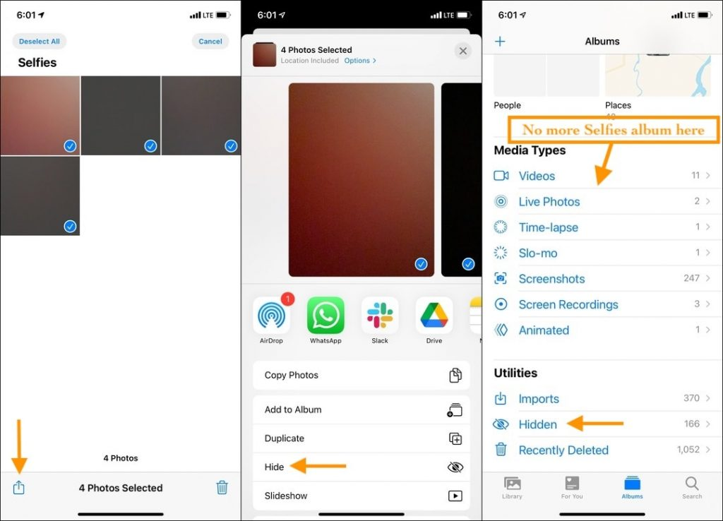 Tap the Share icon and hide images to delete Selfies, Screenshot, or other Media Types albums in the iPhone Photos app