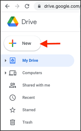 To make ZIP file without MACOSX folder click New in Google Drive on Mac