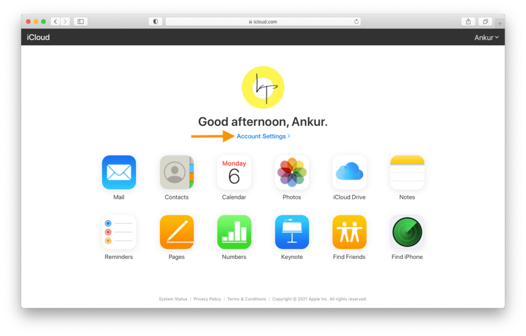 Account Settings in iCloud.com on computer