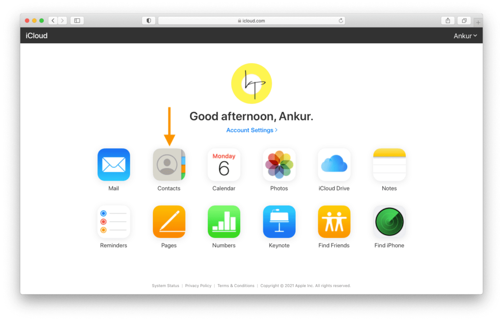 Contacts in iCloud.com on a computer