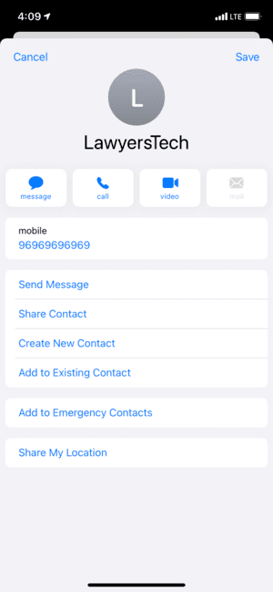 Save vCard to Contacts app on iPhone