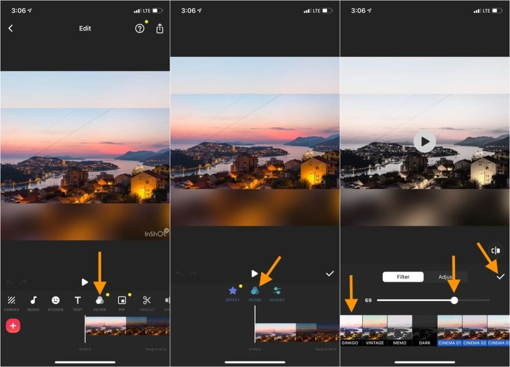 Tap Filter and choose the video filter in Inshot iPhone app