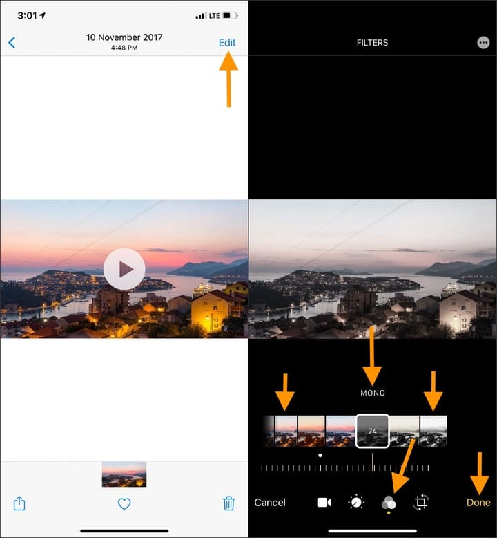 Use iOS video editor to add filters